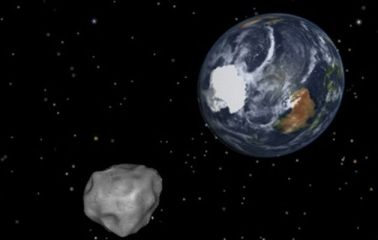This NASA graphic obtained depicts the Earth flyby of asteroid 2012DA14.
