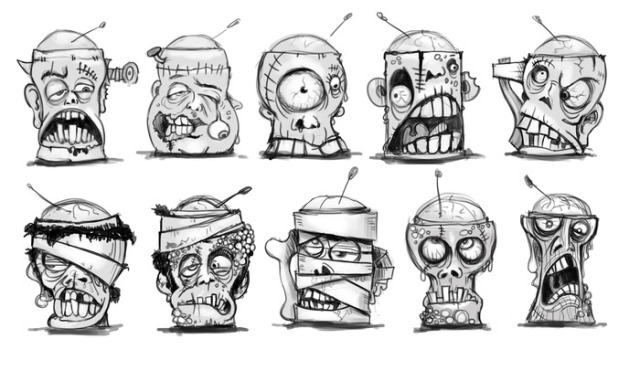 The original sketches for the zombied ice cream cups were eventually narrowed to four designs.