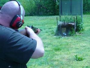 Patrick Graves takes aim during target practice.
