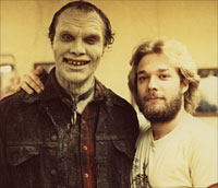 Greg Nicotero posing with Bub actor Sherman Howard between takes.